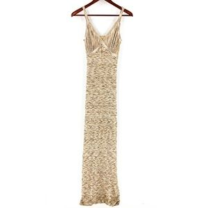 Bebe Gold Metallic Bodycon Maxi Dress